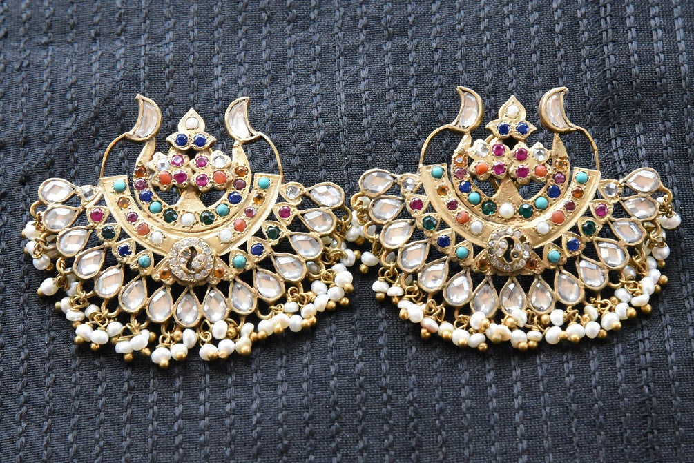 20A845 Silver Gold Plated Chandbalis