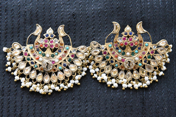 20A846 Traditional Chandbali Earrings With Multi Colored Hints