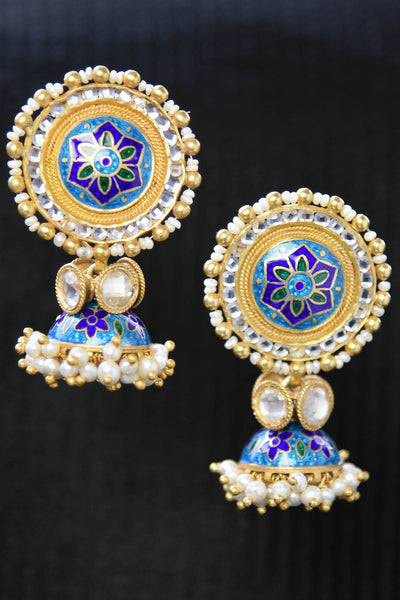 20A852 Exquisite Blue Enamel Earrings With Glass & Pearl