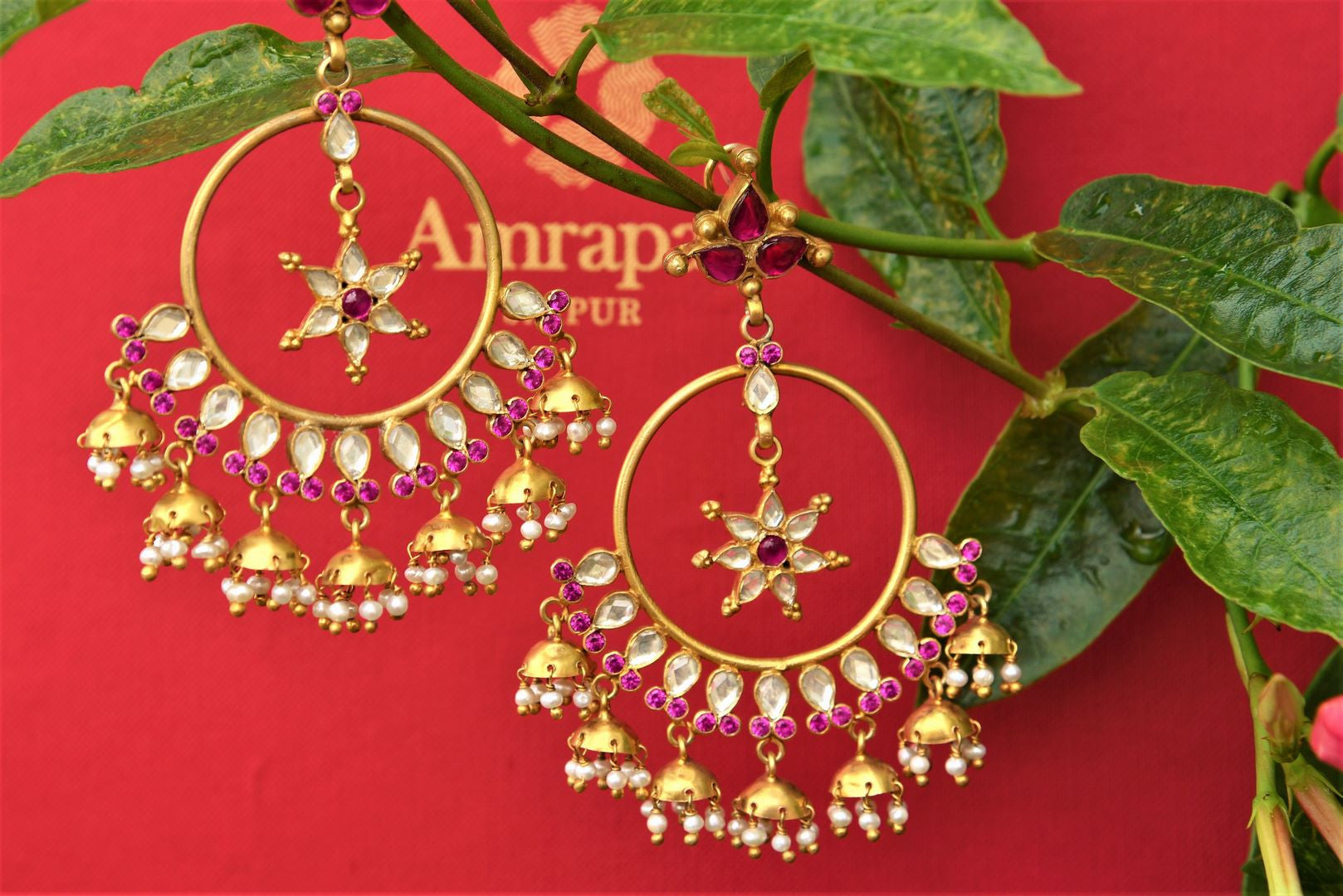 Buy silver gold plated Amrapali Chandbali Earrings online USA with glass and maroon accents. Pure Elegance store brings Indian gold plated earrings online for women.-full view