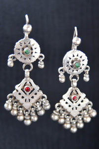 20A864 Traditional Earrings With A Touch of Red & Green