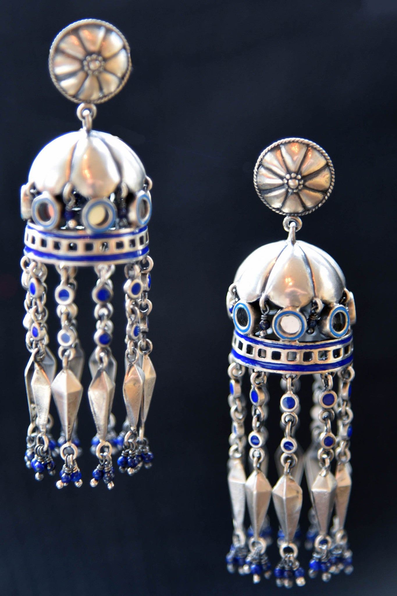 20A866 Silver Gld Plated Enamel Earrings With Glass
