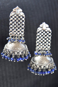 20A869 Silver Gold Plated Lapis Earrings