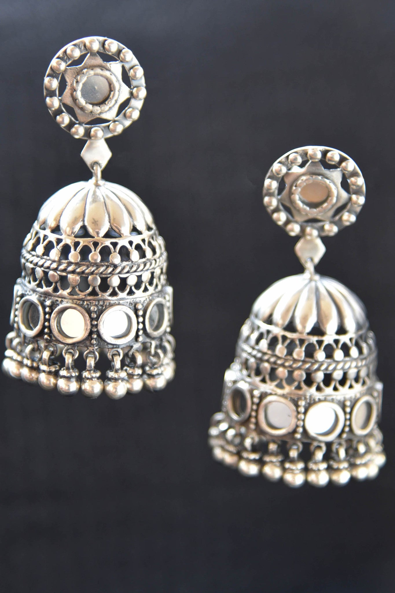 20A874 Silver Gold Plated Jhumkis With Glass Accents