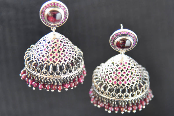 20A875 Silver Gold Plated Jhumkis With A Pop of Red