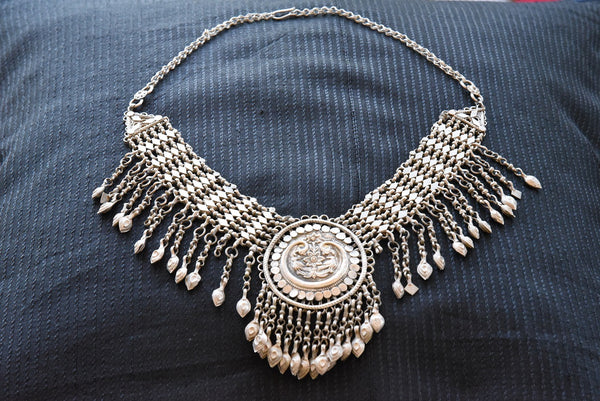 20A881 Chunky Silver Gold Plated Necklace