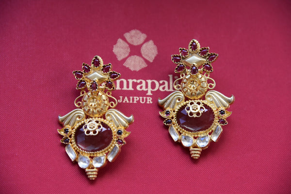 Shop traditional silver gold plated glass earrings from Pure Elegance online or from our store in USA. Perfect for Indian weddings, reception or sangeet. Shop now. Red and Golden Earrings.