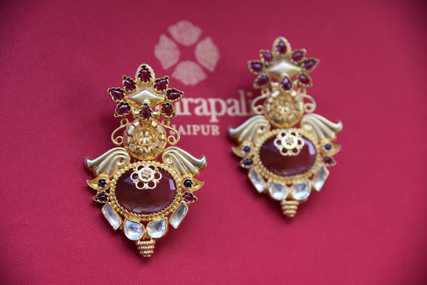 Shop traditional silver gold plated glass earrings from Pure Elegance online or from our store in USA. Perfect for Indian weddings, reception or sangeet. Shop now.. Front View.