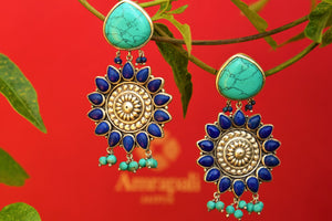 Buy silver Amrapali earrings online from Pure Elegance with lapis & turquoise drops. Our fashion store in USA brings exquisite range of Indian fashion jewelry in USA.-closeup