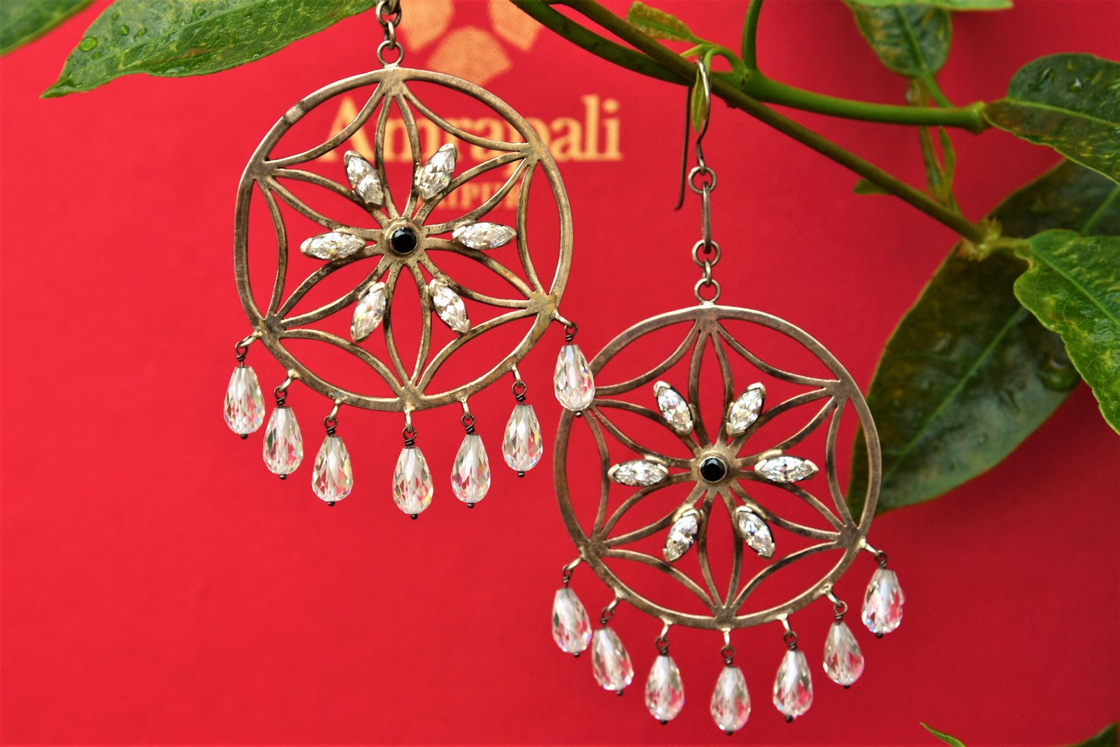 Buy silver gold plated earrings online in USA with zircon. Pure Elegance store brings Indian gold plated jewelry online for women in USA for various occasions.-full view