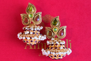 Traditional Indian Silver G/P fashion earring with Pearl and Glass. Pair with heavy look earrings with saree, suit.-front view