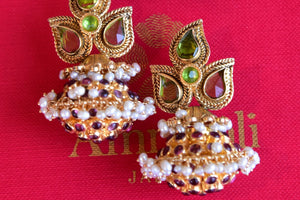 Traditional Indian Silver G/P fashion earring with Pearl and Glass. Pair with heavy look earrings with saree, suit.-close up of glass and pearl