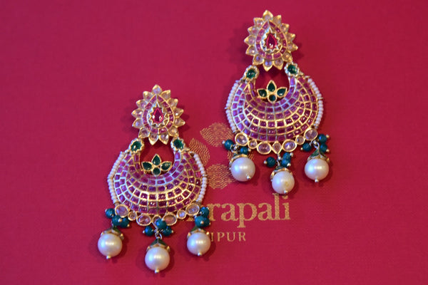 Silver G/P pink glass and white/green pearl amrapali earring available at Indian women clothing store Pure Elegance in USA. Perfect with Indian wear in parties.-Full View