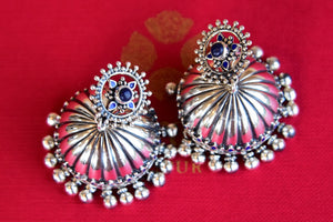 Silver Earring with Lapis stone and screw back. Perfect Indian designer fashion jhumka good for parties.-top view