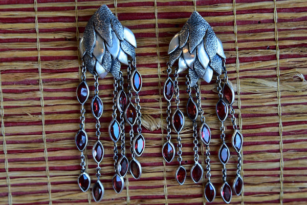 Silver Earring with Garnet gemstone hanging strands fashion earrings. Contemporary style earrings for all.- front view