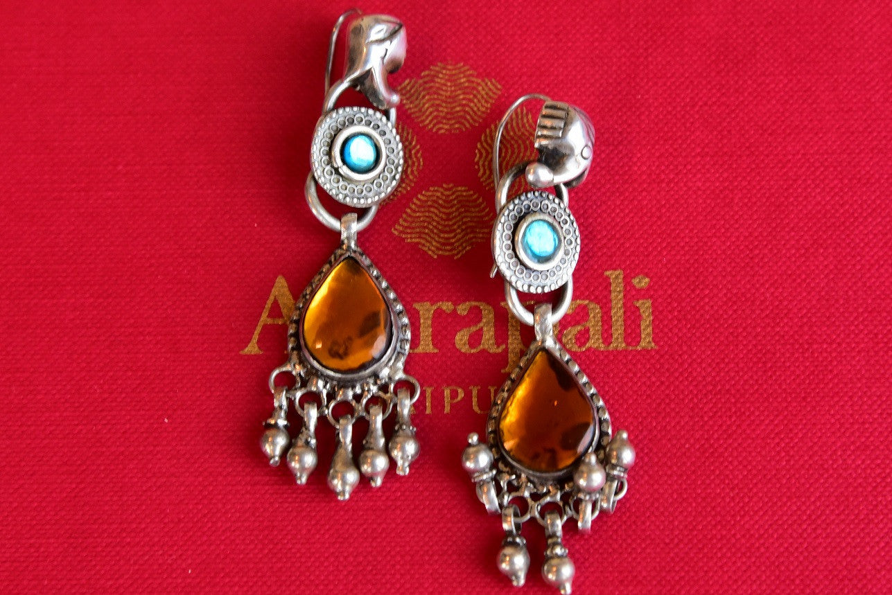 Silver glass stud amrapali earring with hanging silver beads. Perfect for Indian as well as western wear .- front view