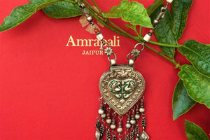 Buy antique silver agate enamel necklace online in USA from Pure Elegance. Shop your favourite silver Indian jewelry at our store in USA for various occasions.-necklace