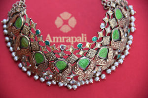 Shop this captivating chunky green and silver fashion jewelry necklace online or from our store near NYC. It is perfect for any wedding, reception, sangeet or reception party. Top View.