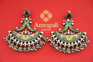 Buy silver gold plated Amrapali enamel and glass earrings online from Pure Elegance. Our fashion store in USA brings an exquisite range of ethnic jewelry in USA for women.-flatlay
