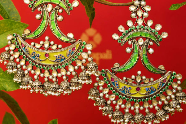 Buy silver gold plated Amrapali enamel and glass earrings online from Pure Elegance. Our fashion store in USA brings an exquisite range of ethnic jewelry in USA for women-closeup