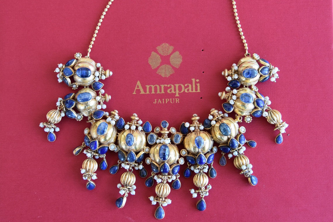 Gold plated Silver kyanite stone and pearl amrapali Necklace. Heavy Indian necklace pair it with formal outfit-A