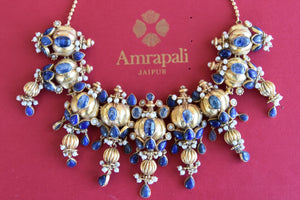 Gold plated Silver kyanite stone and pearl amrapali Necklace. Heavy Indian necklace pair it with formal outfit-B