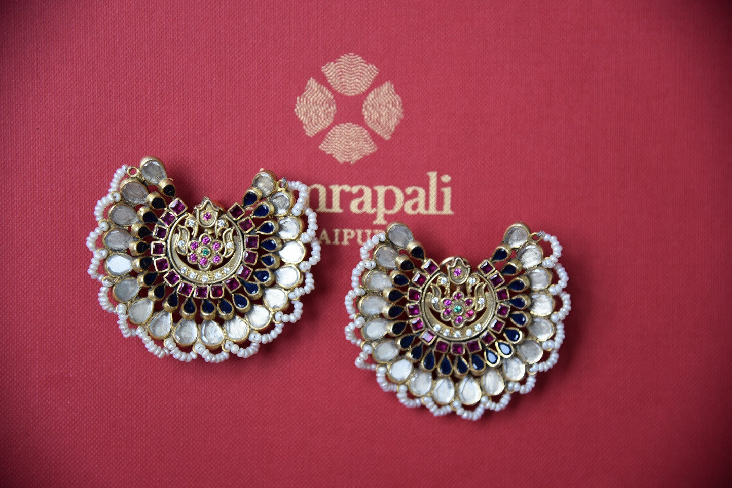 Shop this traditional Indian amrapali silver and gold plated glass pearl earrings from Pure Elegance online or from our store in USA. Perfect for any wedding party. Front View.