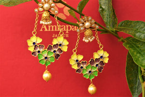 Buy silver gold plated Amrapali enamel earrings online in USA from Pure Elegance. Shop your favorite ethnic Indian gold plated jewelery from our store in USA-full view