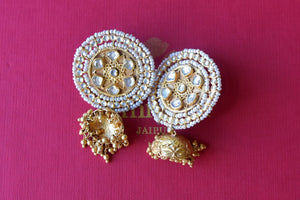 Buy Amrapali silver gold plated pearl and glass earrings online in USA with jhumka. Find an exquisite collection of handcrafted silver gold plated jewelry in USA at Pure Elegance Indian fashion store. Complete your festive look with traditional Indian jewellery, silver gold plated earrings, silver jewellery from our online store.-flatlay