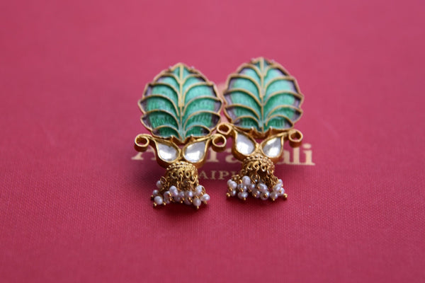 20B064, Shop this ethnic Indian amrapali silver gold plated glass pearl enamel earrings from Pure Elegance online or from our store in Edison. Ideal for any wedding or reception. Top View.