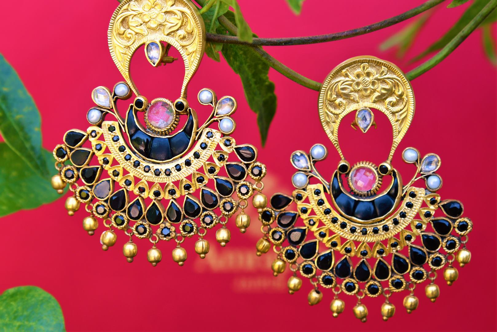 Buy silver gold plated black glass earrings online from Pure Elegance. Our fashion store brings alluring range of Indian silver gold plated jewelry in USA for women.-closeup