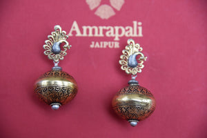 Shop this traditional Indian gold plated two tone Amrapali jewelry online or from our Pure Elegance store in USA. Perfect for any wedding, reception, sangeet. Gold Earrings.