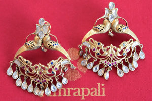 Silver G/P Earring with white, pink and blue glass. Perfect buy for wedding parties and bling your attire.- Full view