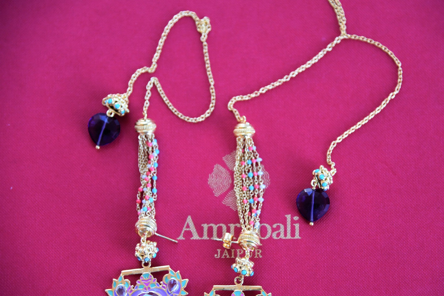 Gold plated silver Enamelled glass and pearl fashion Indian earring. Ideal match with Indian outfit for wedding parties.-beaded string