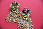 Silver gold plated Amrapali's earrings.  Perfect fashion ethnic Indian jewelry to pair with saree.-full view