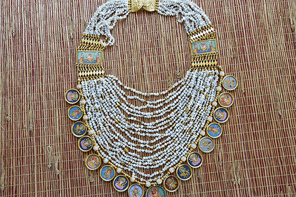 Indian Silver Gold Plated Necklace with Figure Painting coins and multi-strands of small pearls. Wedding Pick.-Full view