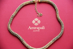 Silver gold plated zircon modern necklace. Perfect for Indian as well as western outfits.-full view
