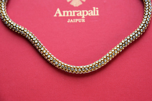 Silver gold plated zircon modern necklace. Perfect for Indian as well as western outfits.-close up