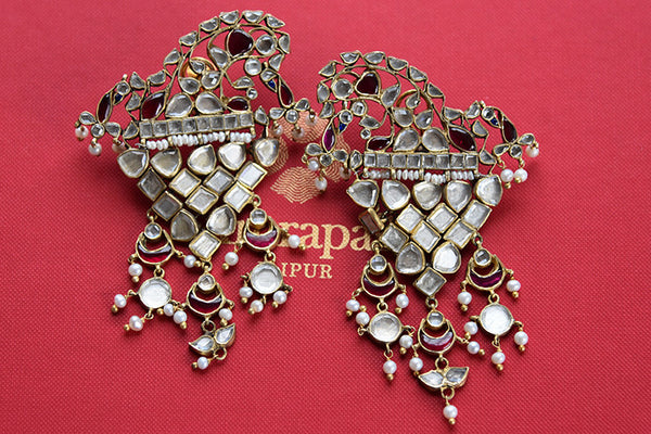Classy And Stylish Silver gold plated Amrapali's earrings. Enhance your Indian outfit with this classic piece of fashion Jewelry.-full view