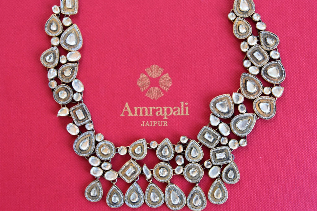 Buy Glass and zircon carved in gold plated Silver necklace. Very elegant and graceful necklace for Indian as well as western wear.- heavy necklace