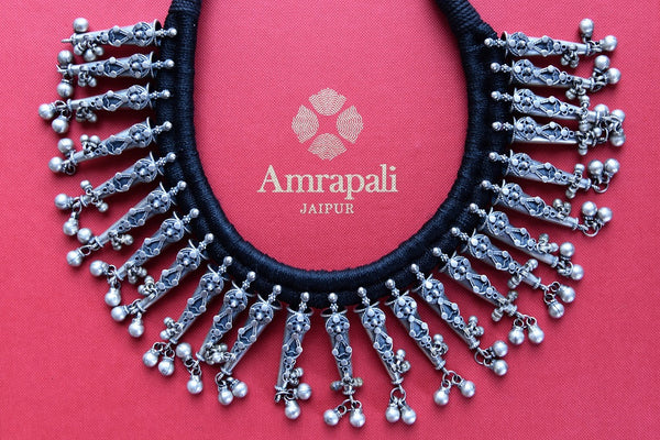Buy beautiful silver Amrapali thread necklace online from Pure Elegance or visit our store in USA. Shop handcrafted silver Indian jewellery online for various occasions.-closeup