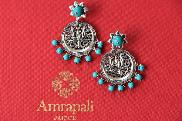 Buy beautiful Amrapali silver earrings online from Pure Elegance or visit our store in USA. Shop traditional silver Indian jewelry earrings online in USA now.-closeup