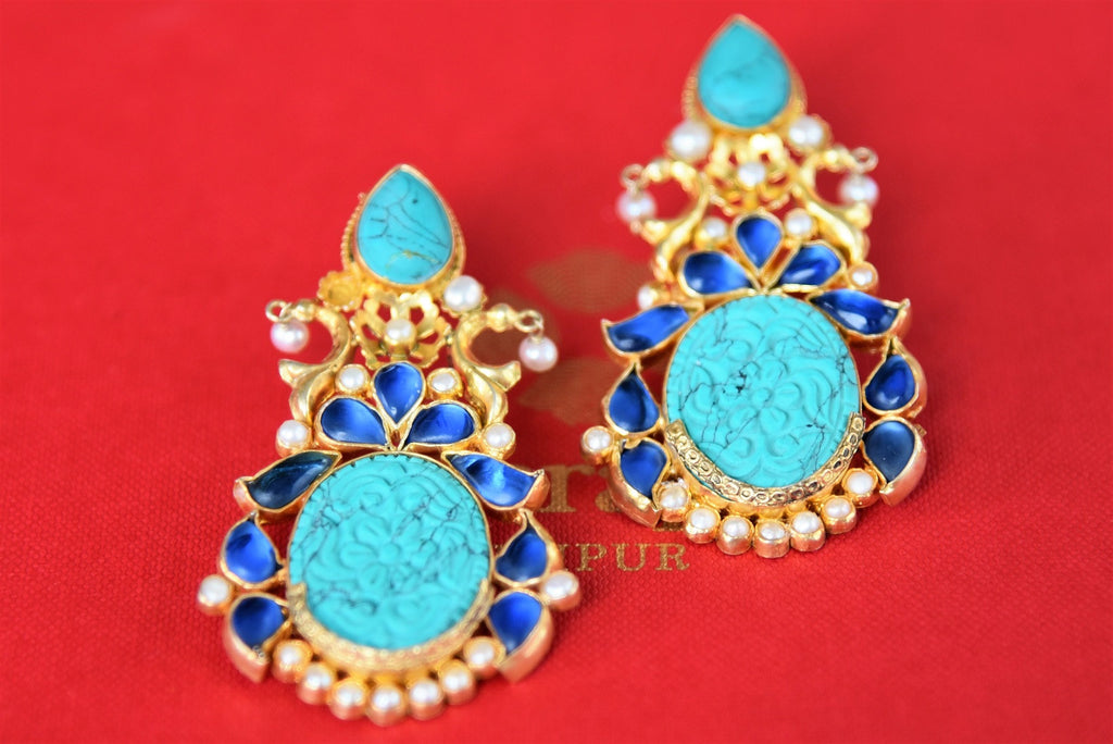 20B236 Silver Gold Plated Turquoise Amrapali Earrings With Pearl And Glass