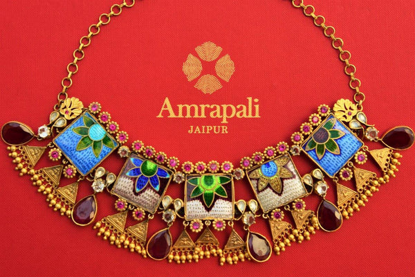 Buy silver gold plated glass and enamel Amrapali necklace online in USA. Pure Elegance store brings stylish collection of Indian jewelry online for women in USA.-closeup