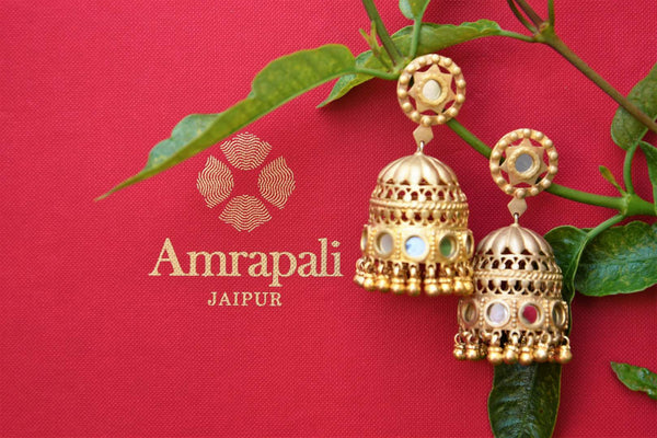 Buy silver gold plated Amrapali Glass Jhumka Earrings online USA in matte finish. Pure Elegance store brings Indian gold plated jewelry online for women in USA.-closeup