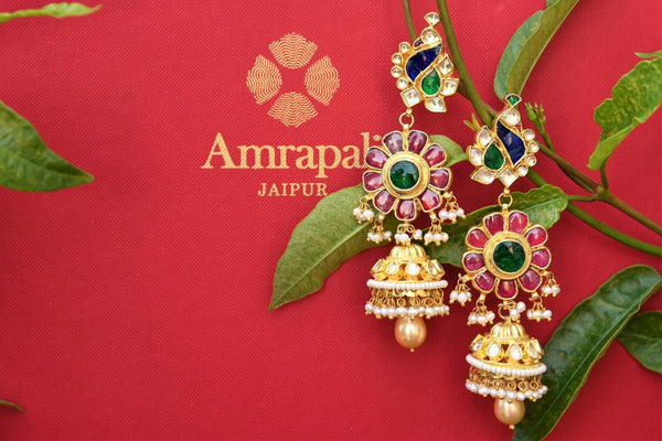 Buy silver gold plated Amrapali Glass Jhumka Earrings online USA with pearl drops. Pure Elegance store brings ethnic Indian gold plated jewelry online for women in USA.-closeup