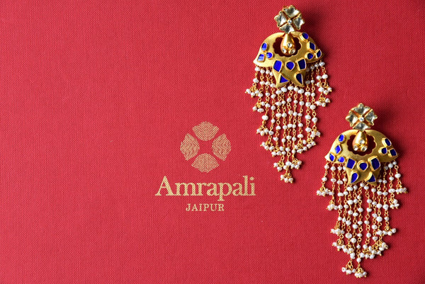 Buy Amrapali silver gold plated glass earrings with pearl strings online from Pure Elegance. Our store brings exclusively curated ethnic Indian earrings online.-full view