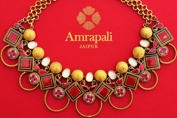Buy silver gold plated glass and enamel Amrapali necklace online in USA. Pure Elegance store brings a beautiful collection of Indian ethnic jewellery online for women.-closeup
