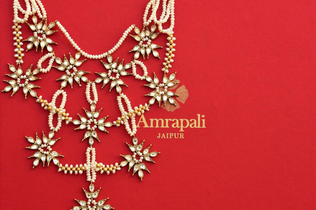 Buy silver gold plated layered pearl Amrapali necklace online in USA with floral glass motifs. Pure Elegance store brings a fine collection of Indian jewelry online for women.-closeup
