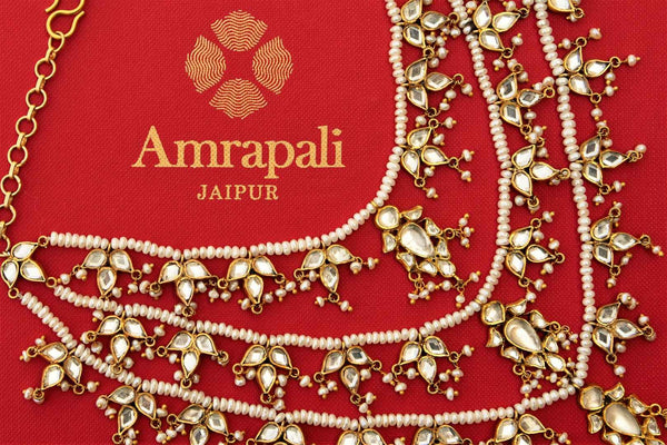 Buy silver gold plated Amrapali layered glass and pearl necklace online in USA. Pure Elegance store brings gold plated Indian jewelry online USA for various occasions.-closeup